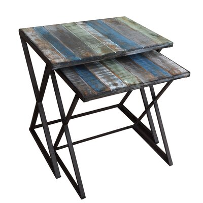 Clayera 2 Piece Nesting Tables Finish: Blue