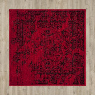 Costa Mesa Red/Black Area Rug Rug Size: Square 4