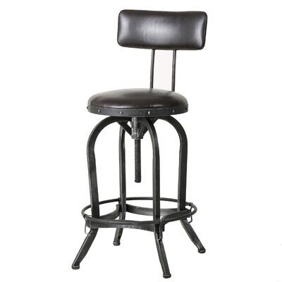 Oria Adjustable Height Swivel Bar Stool Upholstery: Brown