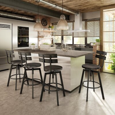Ishani Adjustable Height Bar Stool Base Finish: Semi-Transparent, Upholstery: Medium Dark Gray
