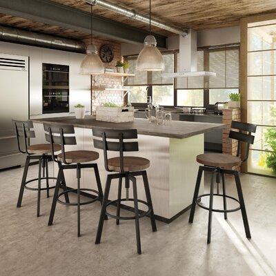 Ishani Adjustable Height Bar Stool Base Finish: Semi-Transparent, Upholstery: Medium Brown