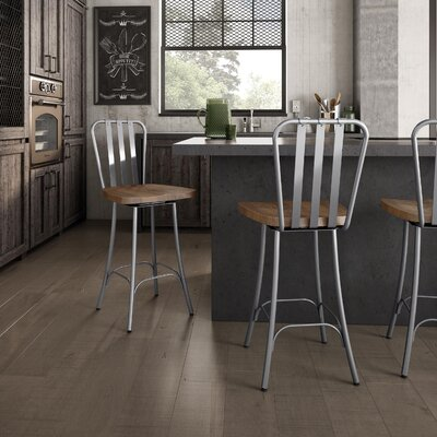 Lake Forest 25.5 Swivel Bar Stool Base Finish: Glossy Grey, Upholstery: Medium Brown