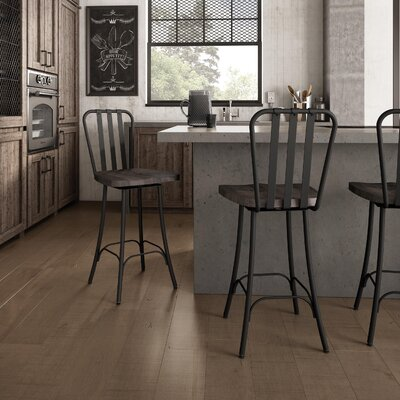 Lake Forest 25.5 Swivel Bar Stool Base Finish: Textured Black, Upholstery: Medium Dark Gray