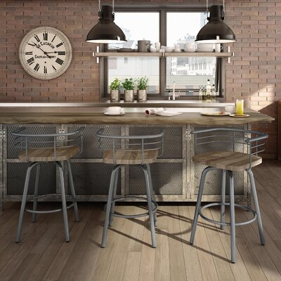 Tungsten 29 Swivel Bar Stool Upholstery: Light Gray, Base Finish: Textured Black