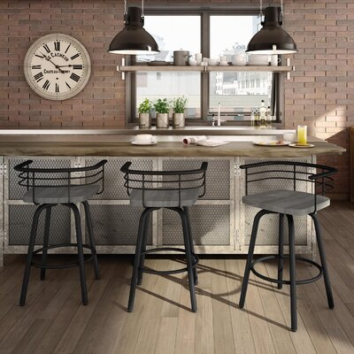 Tungsten 26 Swivel Bar Stool Base Finish: Textured Black, Upholstery: Light Gray