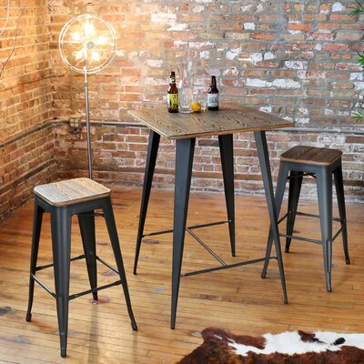 Claremont 3 Piece Pub Table Set Color: Grey / Brown