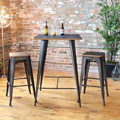 Claremont 3 Piece Pub Table Set Finish: Antique / Espresso
