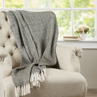 Croftwood Cotton Throw Color: Gray/White