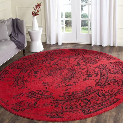 Costa Mesa Red/Black Area Rug Rug Size: Round 8
