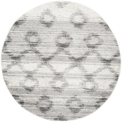 Costa Mesa Silver/Charcoal Area Rug Rug Size: Round 6