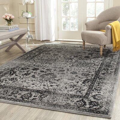 Costa Mesa Gray/Black Area Rug Rug Size: Rectangle 10 x 14