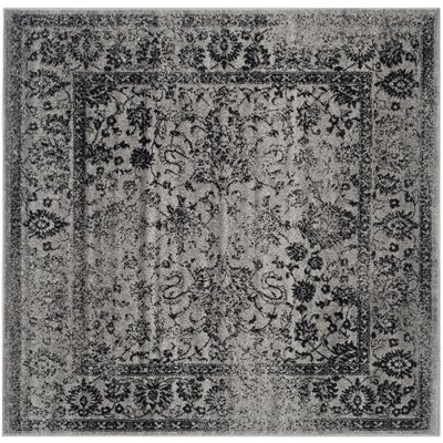 Costa Mesa Gray/Black Area Rug Rug Size: Square 10