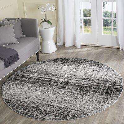 Costa Mesa Silver/Black Area Rug Rug Size: Round 6