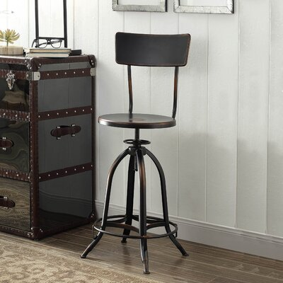Fontenay Adjustable Height Swivel Bar Stool Upholstery: Antique Copper