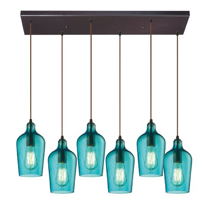 Esteban Modern 6-Light Glass Kitchen Island Pendant Shade Color: Aqua