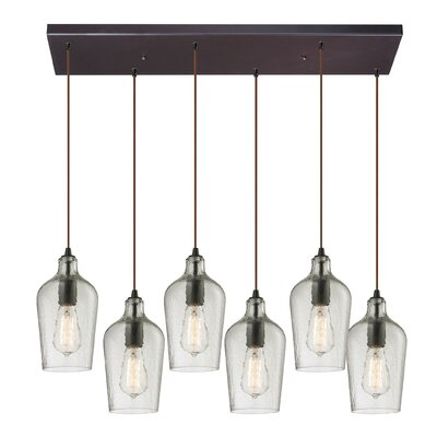 Esteban Modern 6-Light Glass Kitchen Island Pendant Shade Color: Clear