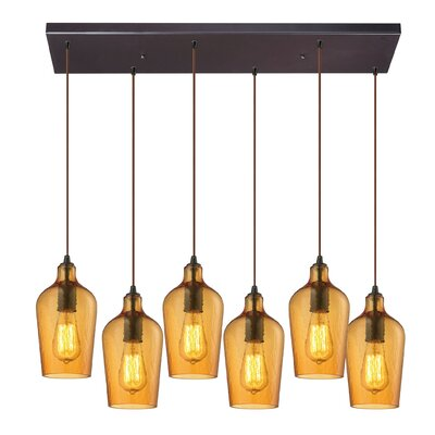 Esteban Modern 6-Light Glass Kitchen Island Pendant Shade Color: Amber