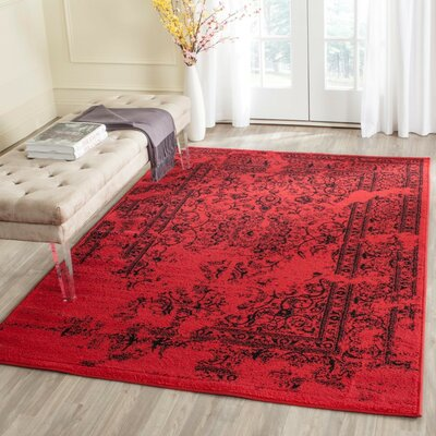 Costa Mesa Red/Black Area Rug Rug Size: Rectangle 51 x 76
