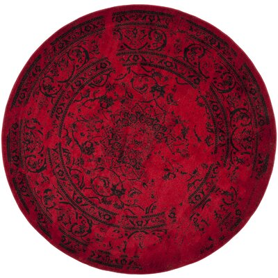 Costa Mesa Red/Black Area Rug Rug Size: Round 4'
