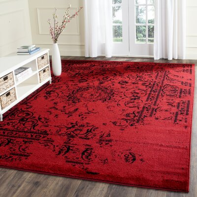 Costa Mesa Red/Black Area Rug Rug Size: Square 6