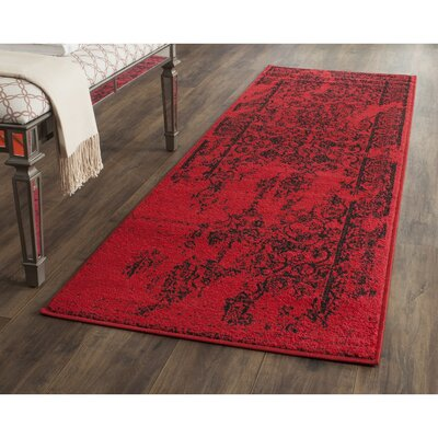 Costa Mesa Red/Black Area Rug Rug Size: Runner 26 x 10