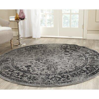 Costa Mesa Gray/Black Area Rug Rug Size: Round 4