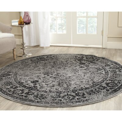 Costa Mesa Gray/Black Area Rug Rug Size: Round 8