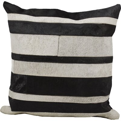 Abordale Leather Throw Pillow Color: Black/Gray