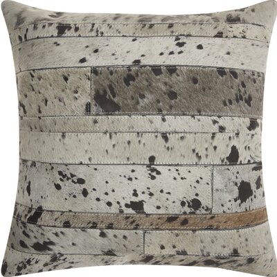 Havza Acid Wash Natural Hide Throw Pillow Color: Silver