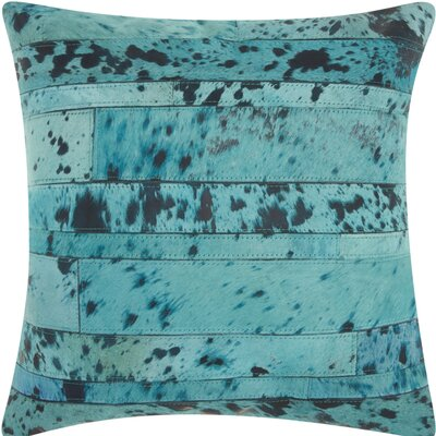Havza Acid Wash Natural Hide Throw Pillow Color: Turquoise