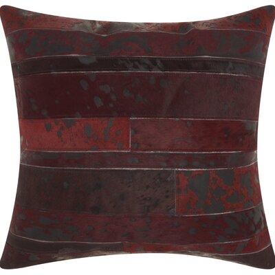 Havza Acid Wash Natural Hide Throw Pillow Color: Wine