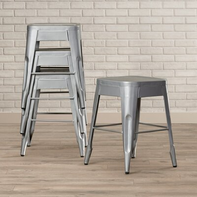 Peyton 18 Bar Stool (Set of 4) Finish: Silver