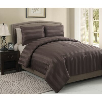 Allenton 3 Piece King Comforter Set Color: Chocolate, Size: Queen