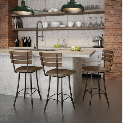 Shanta 25.5 Swivel Bar Stool Upholstery: Semi-Transparent/Medium Brown