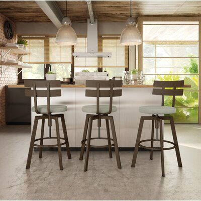 Berrycone Adjustable Height Bar Stool Upholstery: Beige, Base Finish: Hammered Medium Brown