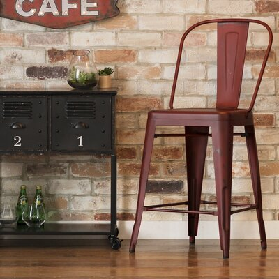 South Gate 26 Bar Stool (Set of 2) Finish: Red