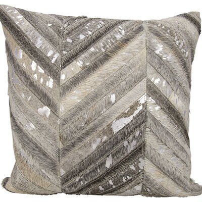 Catalonia Natural Leather Hide Throw Pillow Color: Gray/Silver