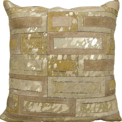 Cassat Natural Leather Hide Throw Pillow Color: Beige/Gold