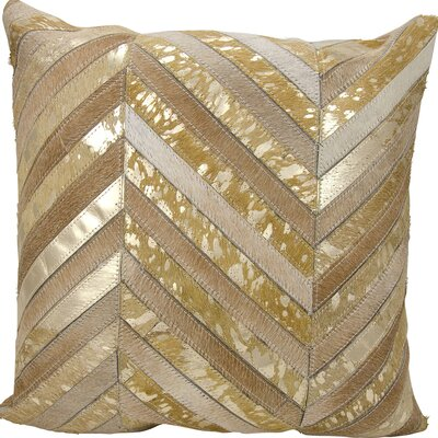 Catalonia Natural Leather Hide Throw Pillow Color: Beige/Gold
