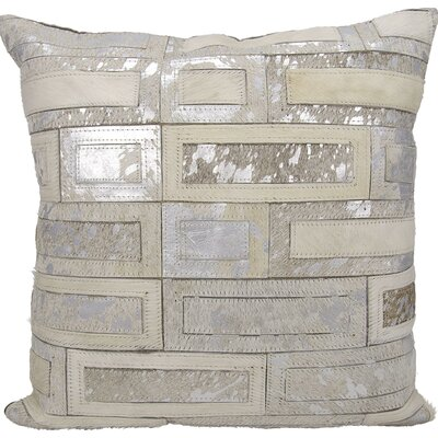 Cassat Natural Leather Hide Throw Pillow Color: White/Silver