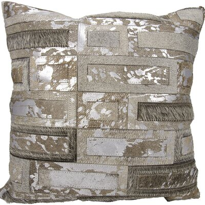 Meadow Natural Leather Hide Throw Pillow Color: Gray/Silver