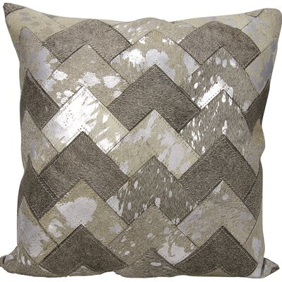 Carentan Natural Leather Hide Throw Pillow Color: Gray/Silver
