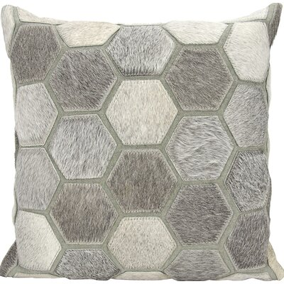 Cantle Natural Leather Hide Throw Pillow Color: Gray