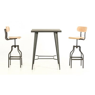 Ashleigh 3 Piece Wood Top Pub Table Set