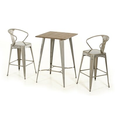 Ashleigh 3 Piece Pub Table Set Finish: Steel