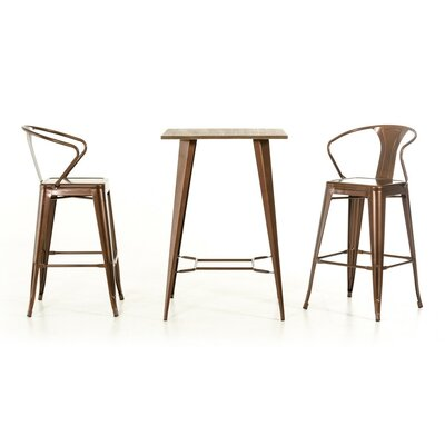 Ashleigh 3 Piece Pub Table Set Finish: Copper
