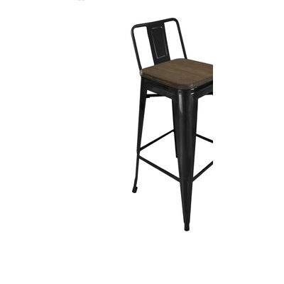 Peetz 30 Bar Stool (Set of 4) Finish: Black