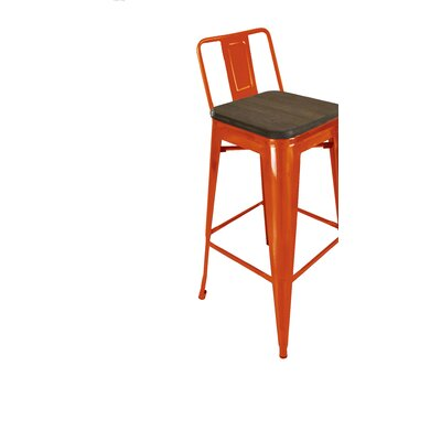 Peetz 30 Bar Stool (Set of 4) Finish: Orange