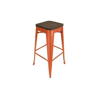 Peetz 30 Square Bar Stool (Set of 4) Finish: Orange