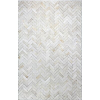 Foraker Cow Hide Hand-Woven Cream Area Rug Rug Size: 5 x 8